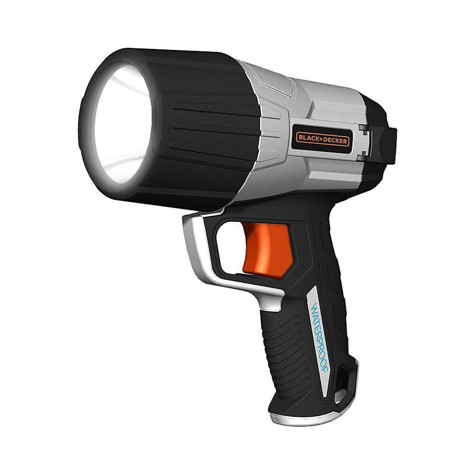"""<p><strong>BLACK+DECKER</strong></p><p>amazon.com</p><p><strong>$32.23</strong></p><p><a href=""""https://www.amazon.com/dp/B06Y66VH7V?th=1&tag=syn-yahoo-20&ascsubtag=%5Bartid%7C10060.g.37899122%5Bsrc%7Cyahoo-us"""" rel=""""nofollow noopener"""" target=""""_blank"""" data-ylk=""""slk:Shop Now"""" class=""""link rapid-noclick-resp"""">Shop Now</a></p><p><strong>Key Specs:</strong></p><ul><li><strong>Lumen</strong>: 500</li><li><strong>Waterproof</strong>: Up to 6 feet</li><li><strong>Weight</strong>: 2.3 pounds</li><li><strong>Runtime</strong>: 10 hours on low </li></ul><p>If you're looking for a spotlight to use on your boat or dock, this Black+Decker model and its waterproof body could be a perfect choice. It can be submerged up to 6 feet deep without being affected, and also floats light-side up if dropped overboard, which makes it much easier to locate. </p><p>Its six AA batteries might not be the most convenient though, so consider that if you're looking for a rechargeable lithium-ion option. This spotlight is also smaller and more compact than most other models, which makes it a valuable choice for those short on space. </p>"""