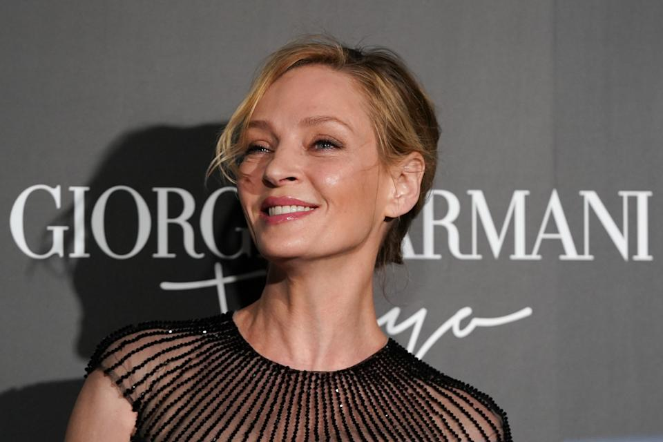 TOKYO, JAPAN - MAY 24: U.S. actress Uma Thurman arrives at the Giorgio Armani 2020 Cruise Collection on May 24, 2019 in Tokyo, Japan. (Photo by Christopher Jue/Getty Images)