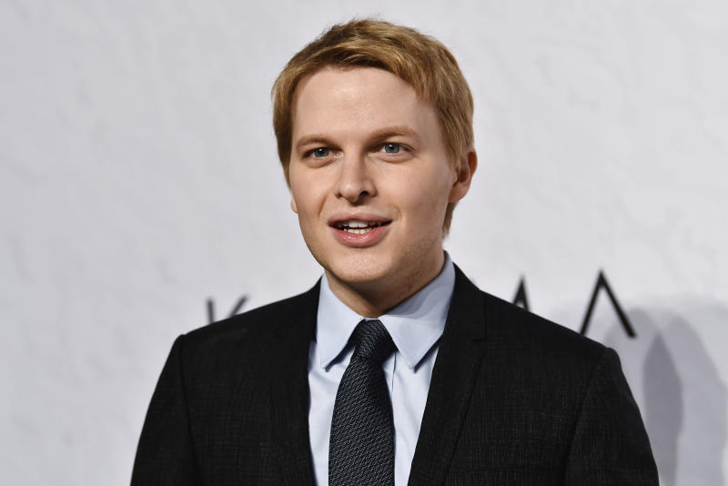 FILE - In this April 13, 2018 file photo, Ronan Farrow attends Variety's Power of Women event in New York. Farrow's new book is being sold in Australia despite threats of defamation lawsuits that the Pulitzer-winning journalist believes led some Australian retailers to drop the bestseller. (Photo by Evan Agostini/Invision/AP, File)