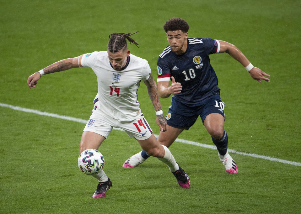 Kalvin Phillips of England and Ché Adams of Scotland in action during the UEFA Euro 2020 Championship Group D match between England and Scotland at Wembley Stadium in London, United Kingdom, on 18 June. Photo: Visionhaus/Getty Images