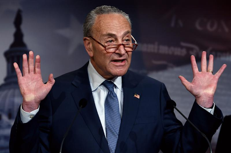 Senate Minority Leader Chuck Schumer, D-N.Y., speaks at a press conference on Tuesday. (Photo: Olivier Douliery/AFP via Getty Images)