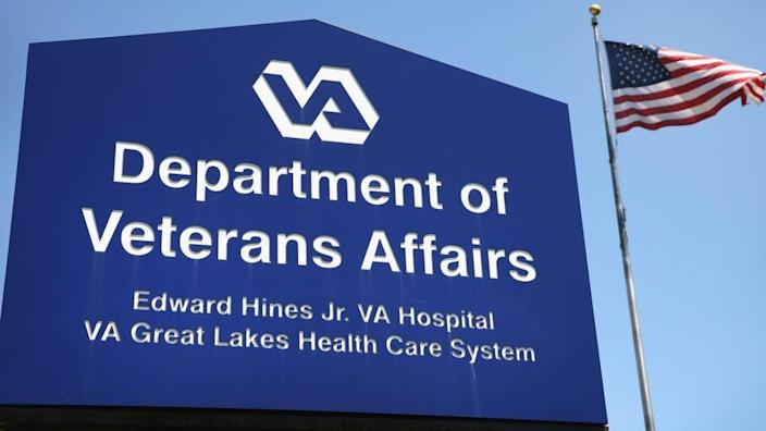 A sign marks the entrance to the Edward Hines Jr. VA Hospital in Hines, Illinois. Black Veterans Project and the National Veterans Council for Legal Redress have filed multiple Freedom of Information Act requests to obtain the release of certain racial data by Veterans Affairs. (Photo by Scott Olson/Getty Images)