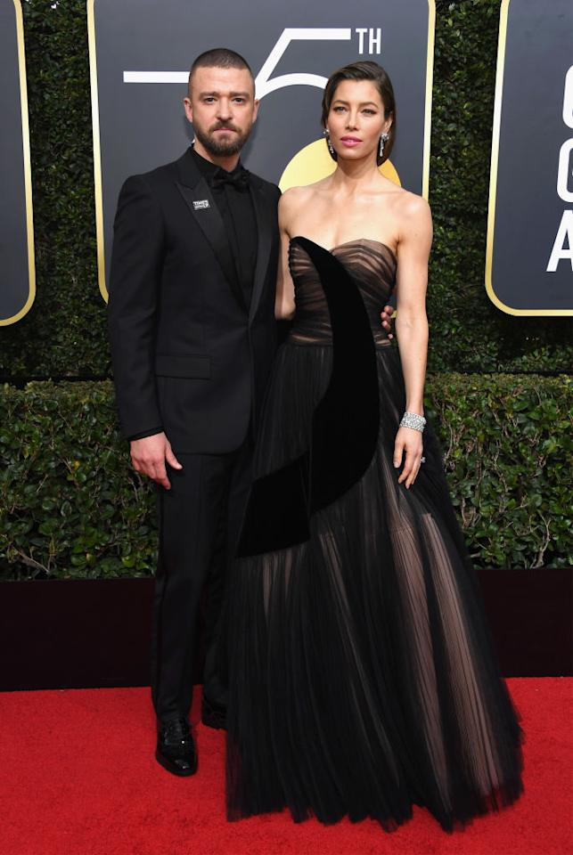 <p>Jessica Biel, who was nominated for Best Performance by an Actress in a Limited Series or a Motion Picture Made for Television category for<em> The Sinner</em>, and her husband, Justin Timberlake, attend the 75th Annual Golden Globe Awards at the Beverly Hilton Hotel in Beverly Hills, Calif., on Jan. 7, 2018. (Photo: Steve Granitz/WireImage) </p>