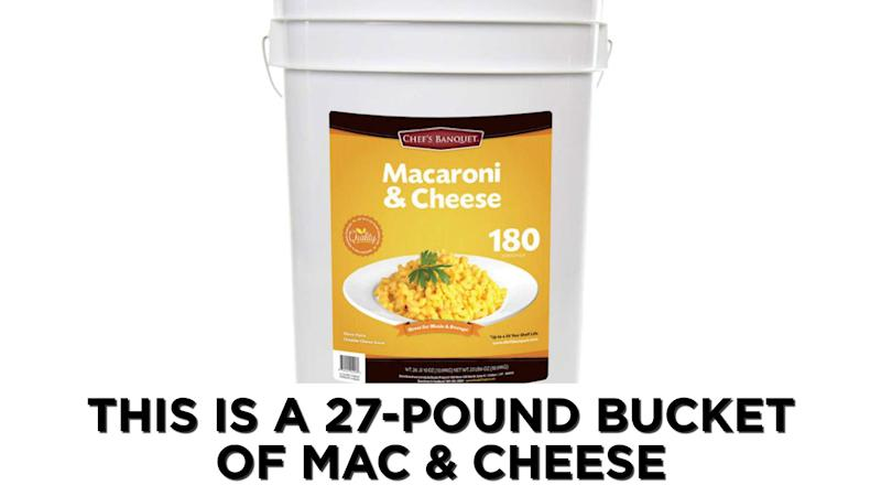 Costco sells 27-Lb bucket of mac and cheese