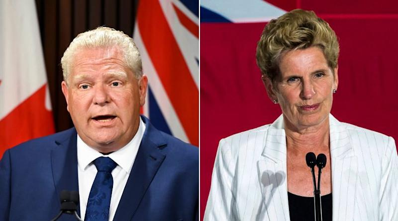 Doug Ford and Kathleen Wynne shared a nice exchange at Queen's Park Tuesday. (Photo: The Canadian Press/HuffPost Canada composite)