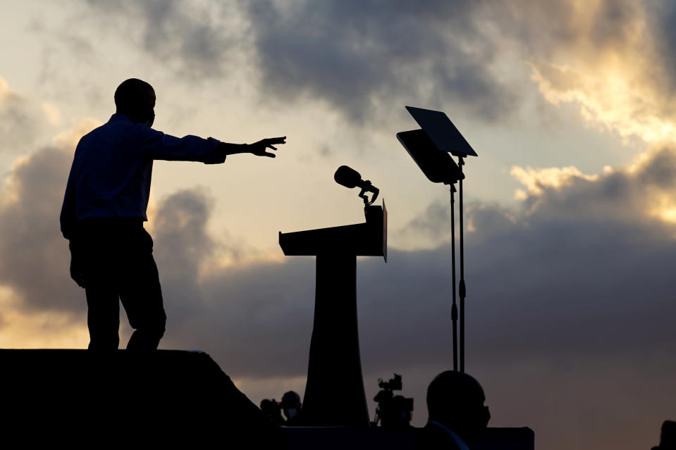 Former President Barack Obama arrives to speak at Citizens Bank Park as he campaigns for Democratic presidential candidate former Vice President Joe Biden, Wednesday, Oct. 21, 2020, in Philadelphia. (AP Photo/ Matt Slocum)