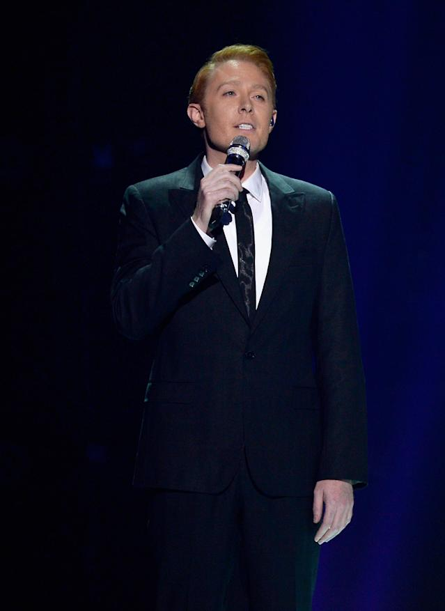 "Singer Clay Aiken performs during Fox's ""American Idol"" finale for the farewell season at Dolby Theatre on April 7, 2016, in Hollywood, Calif. (Photo by Kevork Djansezian/Getty Images)"