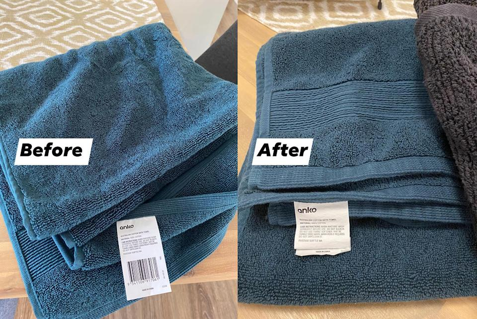 Kmart Australian Cotton Bath Towe before and after washing