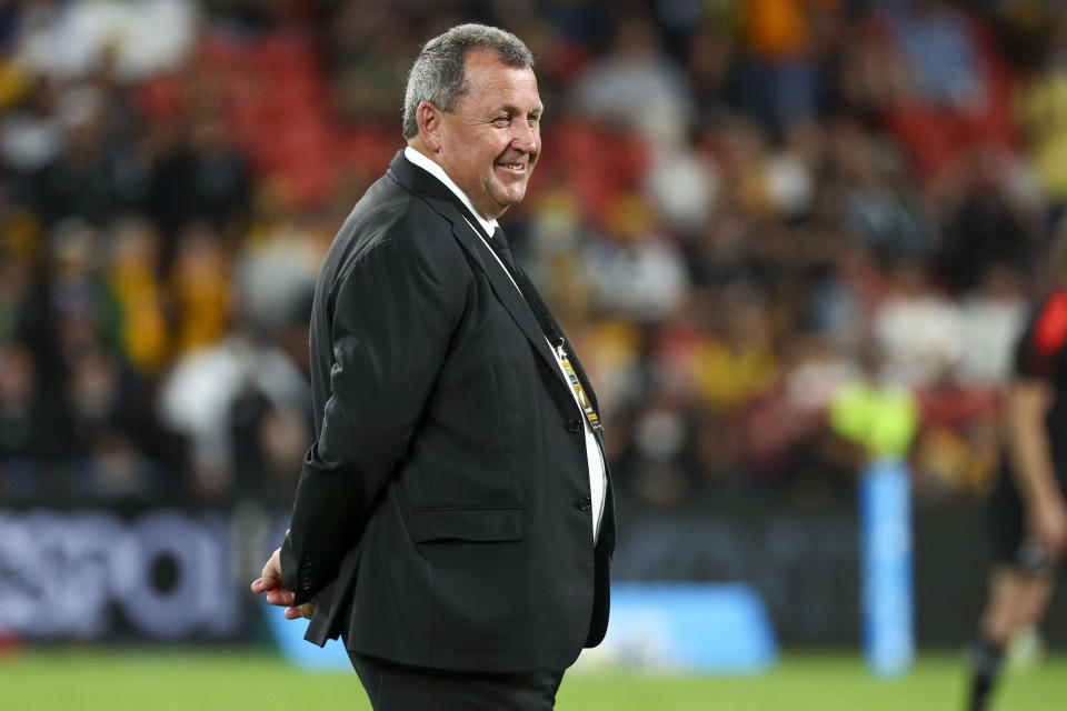 New Zealand head coach Ian Foster watches his players warm up ahead of the Rugby Championship test match between the All Blacks and the Pumas in Brisbane, Australia, Saturday, Sept. 18, 2021. (AP Photo/Tertius Pickard)