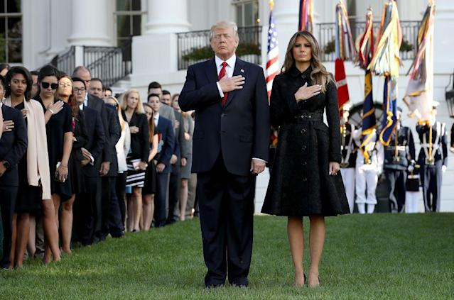 <p>Melania led a moment of silence with President Trump to commemorate the lives lost during the 2001 terrorist attacks. For the service, FLOTUS wore a black, belted jacquard coat with black heels to match - fitting for the somber occasion.</p>