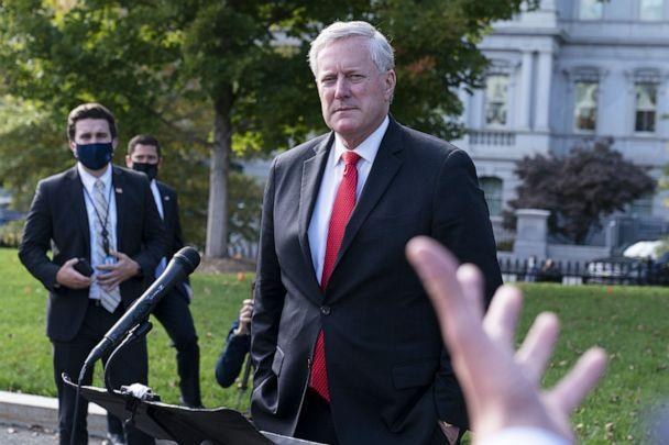 PHOTO: Mark Meadows, White House chief of staff, listens to a question from a member of the media outside of the White House, Oct. 21, 2020. (Bloomberg via Getty Images, FILE)