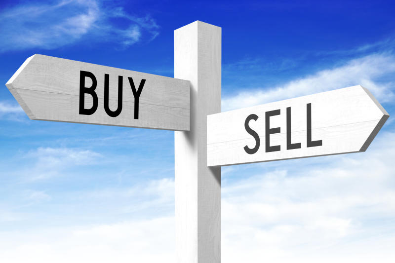 A sign labeled buy and a sign labeled sell
