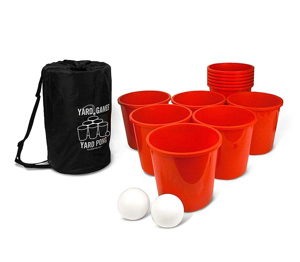 <p>The whole family will enjoy playing this <span>Giant Yard Pong</span> ($50) game.</p>