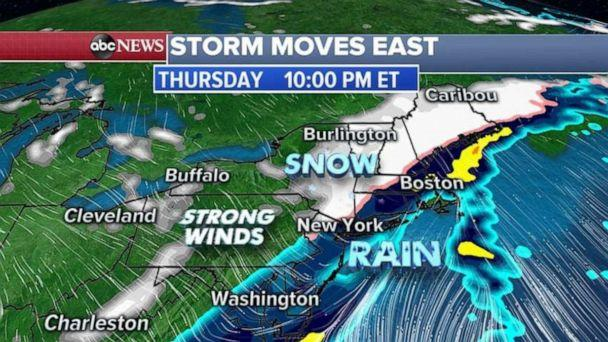 PHOTO: By Thursday late afternoon, this cold front will move into the Northeast changing rain to snow for central Pennsylvania, upstate New York and into New England. (ABC News)