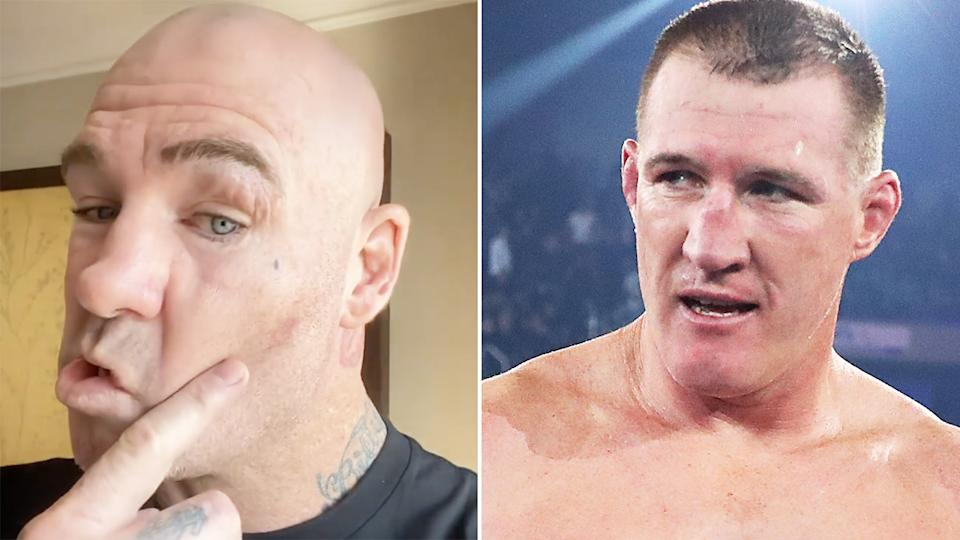 Lucas Browne says he can't hear out of one of his ears following his brutal knockout at the hands of Paul Gallen in their heavyweight bout on Wednesday night. Pictures: Instagram/lucasbigdaddybrowne/Getty Images