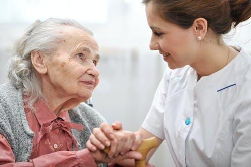 """<span class=""""caption"""">Many care workers feel society does not value them or the people they look after. </span> <span class=""""attribution""""><a class=""""link rapid-noclick-resp"""" href=""""https://www.shutterstock.com/image-photo/senior-woman-her-caregiver-home-146517530"""" rel=""""nofollow noopener"""" target=""""_blank"""" data-ylk=""""slk:Alexander Raths/Shutterstock"""">Alexander Raths/Shutterstock</a></span>"""