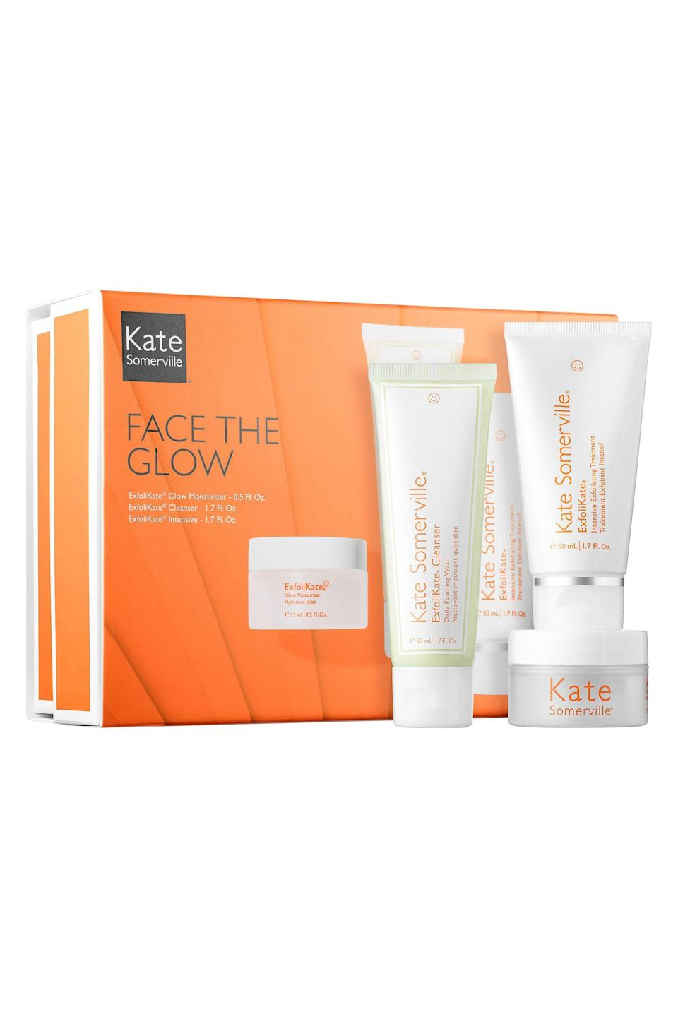 """<p><strong>Kate Somerville </strong></p><p>nordstrom.com</p><p><strong>$65.00</strong></p><p><a href=""""https://go.redirectingat.com?id=74968X1596630&url=https%3A%2F%2Fwww.nordstrom.com%2Fs%2Fkate-somerville-face-the-glow-kit-usd-114-value%2F5093138&sref=https%3A%2F%2Fwww.elle.com%2Fbeauty%2Fmakeup-skin-care%2Fg33433197%2Fbest-skin-care-sets%2F"""" rel=""""nofollow noopener"""" target=""""_blank"""" data-ylk=""""slk:Shop Now"""" class=""""link rapid-noclick-resp"""">Shop Now</a></p><p>Kate Somerville's kit is the best travel buddy anyone can have. Whenever your skin looks dull and dry, reach for this kit to restore your glow.</p>"""