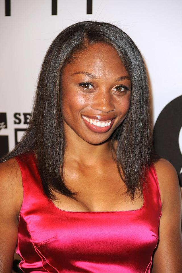 "LOS ANGELES, CA - APRIL 12: Allyson Felix arrives at Gatorade's ""G Series Fit"" Launch Party at the SLS Hotel on April 12, 2011 in Los Angeles, California. (Photo by Frazer Harrison/Getty Images)"