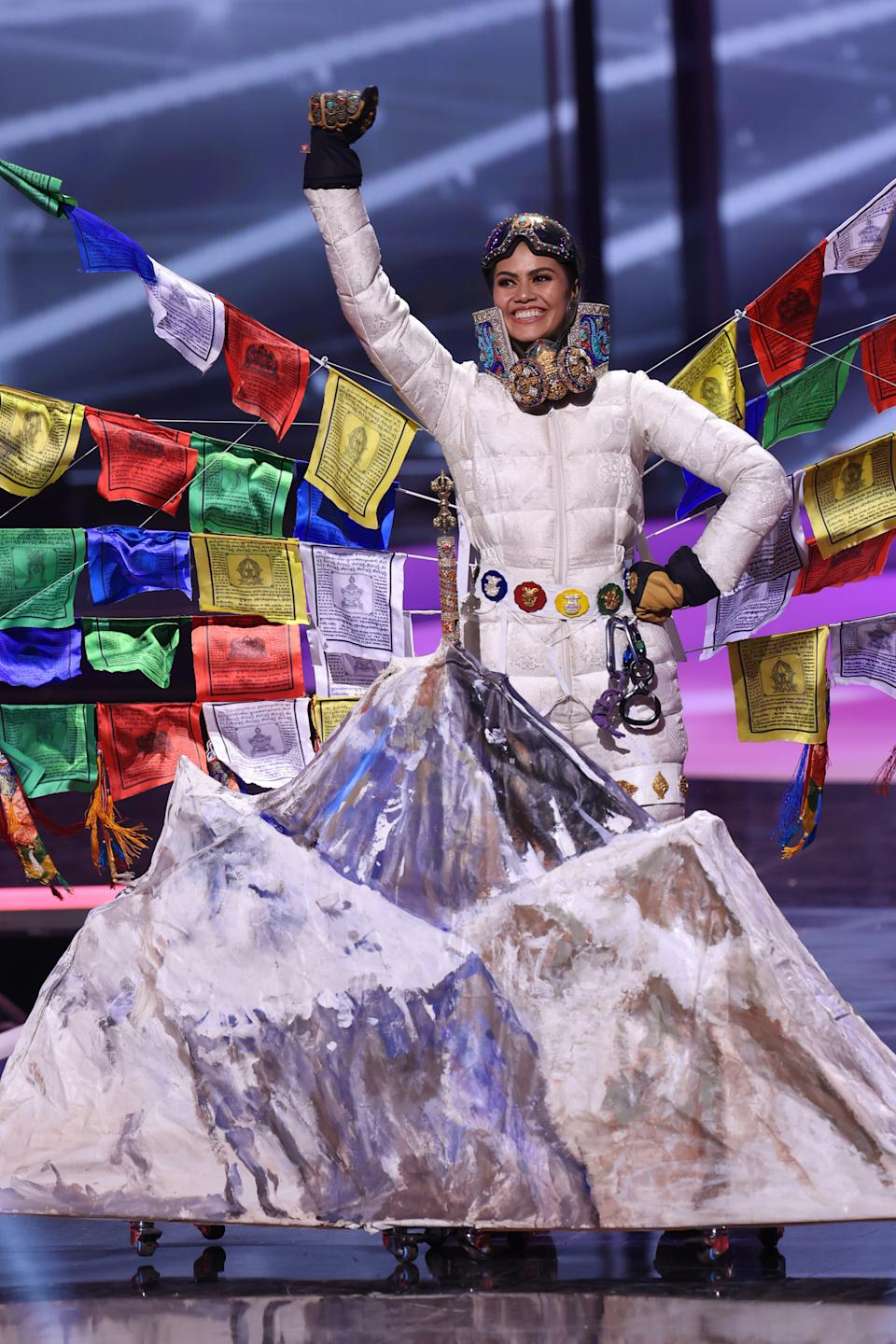 <p>Miss Nepal Anshika Sharma appears onstage at the Miss Universe 2021 - National Costume Show at Seminole Hard Rock Hotel & Casino on May 13, 2021 in Hollywood, Florida. (Photo by Rodrigo Varela/Getty Images)</p>