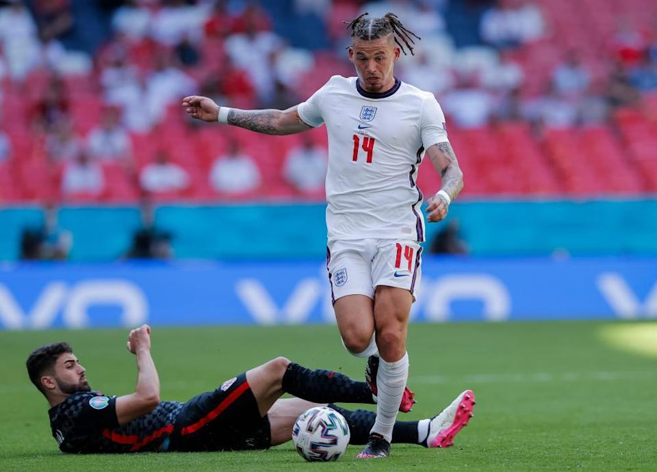 England's Kalvin Phillips beats Croatia's Josko Gvardiol before laying on the pass to Raheem Sterling from which he scored England's winning goal.