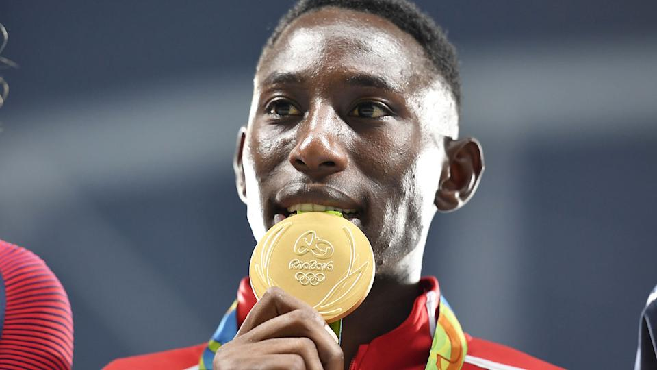 Pictured here, Conseslus Kipruto with his Olympic gold medal from the 2016 Rio Games.
