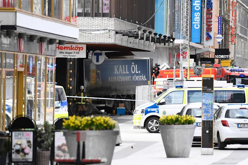 Attack: The truck ploughed into shoppers in Stockholm: Jonathan Nackstrand/AFP/Getty Images