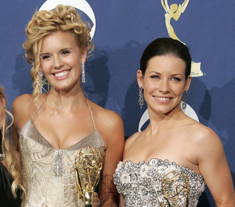 Maggie Grace and Evangeline Lilly together at the 2005 Emmys. (Photo: Kevin Winter/Getty Images)