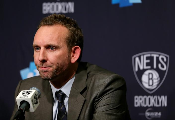 Newly hired Brooklyn Nets General Manager Sean Marks answers questions during a press conference before the game between the Brooklyn Nets and the New York Knicks.