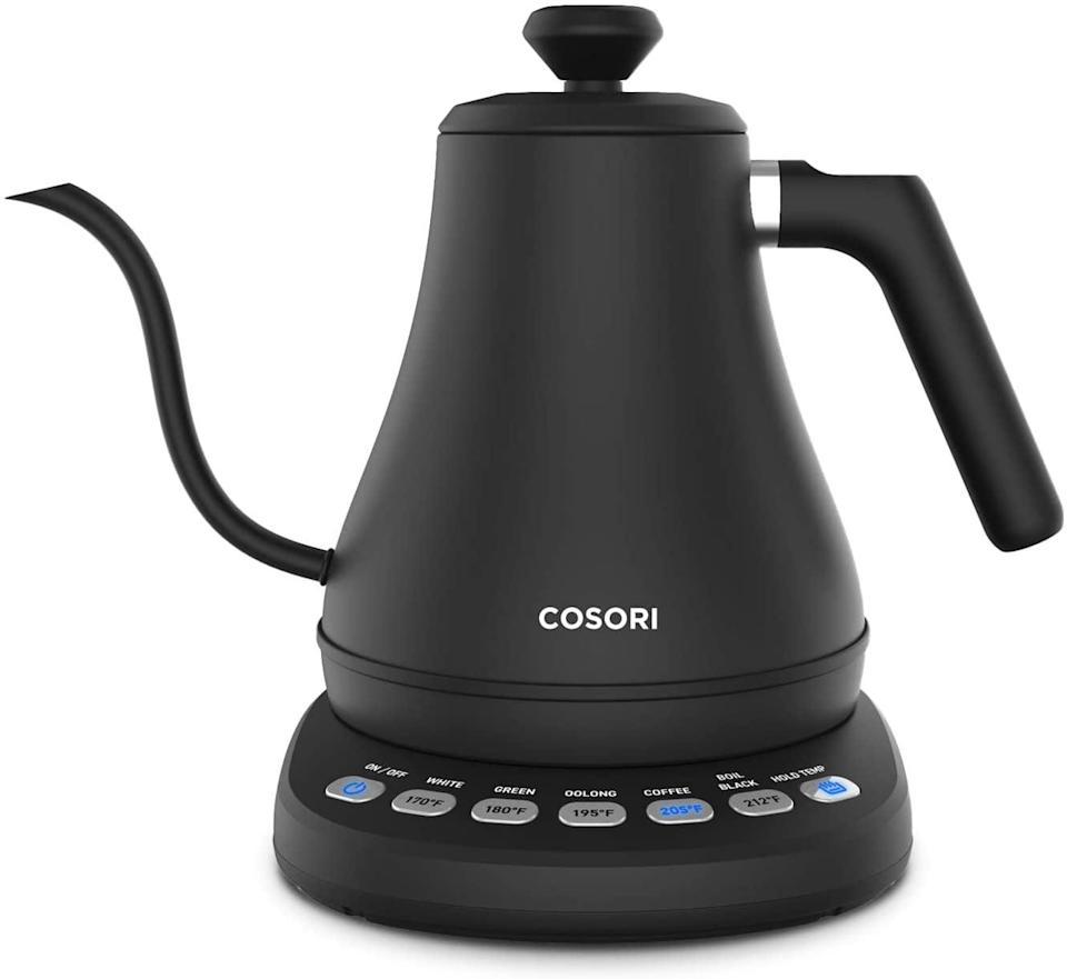 <p>If you are an avid coffee and tea drinker, the <span>Cosori Electric Gooseneck Kettle with 5 Variable Presets</span> ($70) is a must have. It looks so sleek, it doubles as home decor.</p>