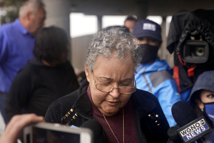 Amanda Harris, sister of missing crewmember Gregory Walcott, talks to reporters as she leaves a briefing for family members by Coast Guard and NTSB officials in Port Fouchon, La., Friday, April 16, 2021. The Coast Guard has told families of missing workers that another body has been found from the lift boat capsized off the Louisiana coast and a coroner has confirmed that to a news outlet. AP Photo/Gerald Herbert)