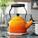 """<p><strong>Le Creuset</strong></p><p>wayfair.com</p><p><a href=""""https://go.redirectingat.com?id=74968X1596630&url=https%3A%2F%2Fwww.wayfair.com%2Fkitchen-tabletop%2Fpdp%2Fle-creuset-enamel-on-steel-125-qt-whistling-stovetop-kettle-lec1582.html&sref=https%3A%2F%2Fwww.delish.com%2Fkitchen-tools%2Fcookware-reviews%2Fg36277927%2Fway-day-kitchen-deals-2021%2F"""" rel=""""nofollow noopener"""" target=""""_blank"""" data-ylk=""""slk:Shop Now"""" class=""""link rapid-noclick-resp"""">Shop Now</a></p><p><strong><del>$</del></strong><strong><del>100</del> $56 (44% off)</strong></p><p>Le Creuset is legendary for their quality, and their whistling stovetop kettle lives up to the reputation. Beyond the cool flame motifs, features that make this whistling stovetop kettle worth the splurge is the gooseneck sprout that prevents dripping and firm, sturdy handle. <br></p>"""