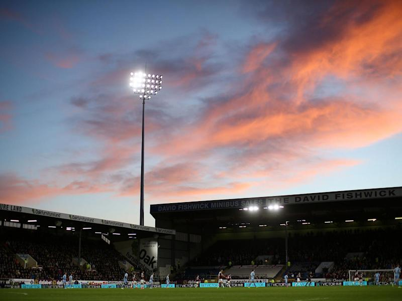 A general view of Turf Moor as the sun sets (Getty)