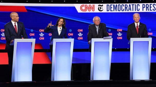 PHOTO: Democratic presidential hopefuls speak during the fourth Democratic primary debate at Otterbein University in Westerville, Ohio, Oct. 15, 2019. (Saul Loeb/AFP/Getty Images)