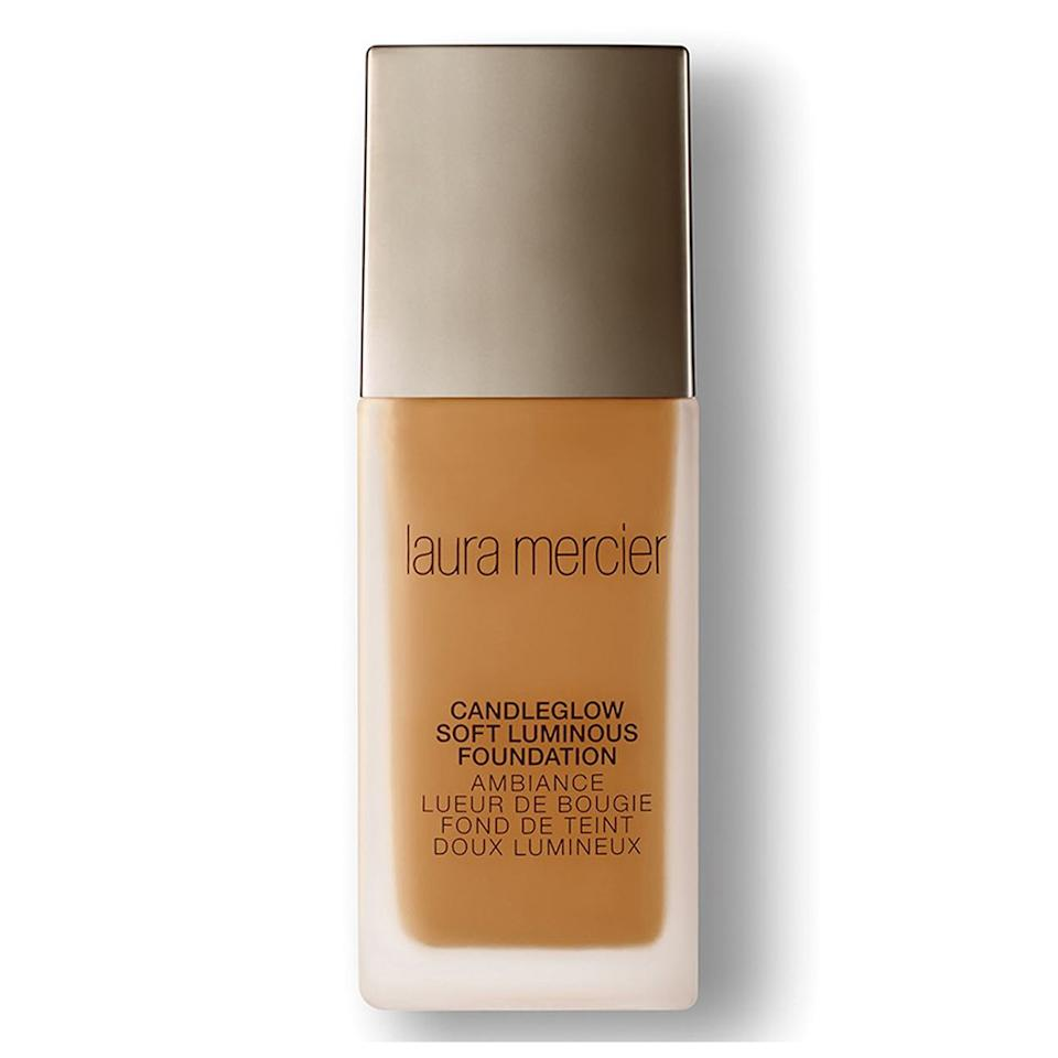 """<p>Jerry Johnson, the global makeup artist for Laura Mercier, suggests shopping for a foundation with illuminating properties. """"This foundation is perfect for dry skin since it gives off a soft, luminous look, even with the most dehydrated skin. It also has the perfect light to medium coverage,"""" he says. As far as application goes, he recommends a hydrating primer and using a sponge for optimal blending. """"Apply with a sponge in a press-and-roll method, so it becomes part of the skin and isn't just sitting on the surface of the skin.""""(<a rel=""""nofollow"""" href=""""http://shop.nordstrom.com/s/laura-mercier-candleglow-soft-luminous-foundation/4282172"""">$48</a>, Nordstrom) </p>"""