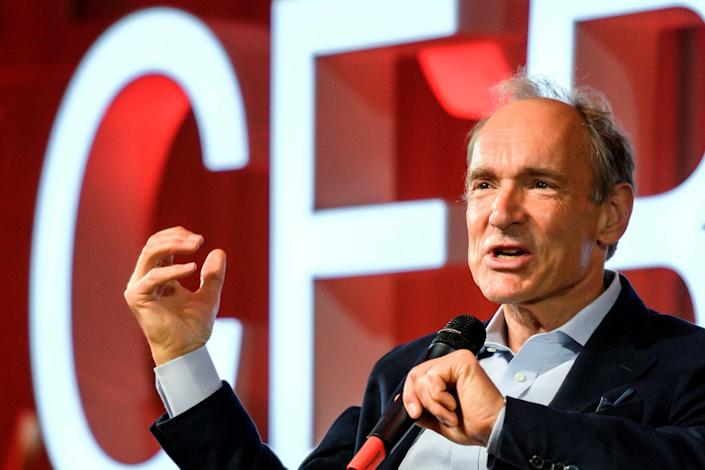 """FILE - In this March 12, 2019, file photo, English computer scientist Tim Berners-Lee, best known as the inventor of the World Wide Web, delivers a speech during an event at the CERN in Meyrin near Geneva, Switzerland, marking 30 years of World Wide Web. Berners-Lee said Thursday, June 11, 2020 the COVID-19 pandemic demonstrates """"the gross inequality"""" of a world where almost half the population is unable to connect, telling a high-level U.N. meeting """"our number one focus must be to close the digital divide."""" (Fabrice Coffrini/Pool, Keystone via AP, File)"""