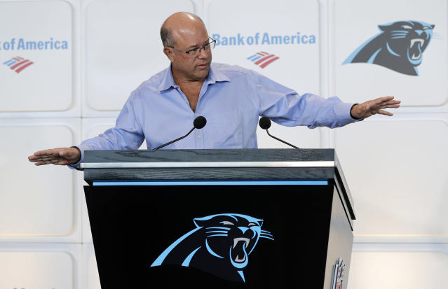 New Carolina Panthers owner David Tepper answers a question during a news conference at Bank of America Stadium in Charlotte, N.C. on Tuesday. (AP)