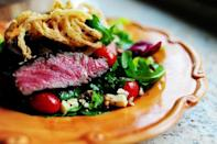"""<p>This restaurant-quality salad deserves a spot on your dinner table. Yes, there are quite a few steps, but the end result is more than worth it.</p><p><strong><a href=""""https://www.thepioneerwoman.com/food-cooking/recipes/a9514/big-steak-salad/"""" rel=""""nofollow noopener"""" target=""""_blank"""" data-ylk=""""slk:Get the recipe"""" class=""""link rapid-noclick-resp"""">Get the recipe</a>.</strong></p><p><a class=""""link rapid-noclick-resp"""" href=""""https://go.redirectingat.com?id=74968X1596630&url=https%3A%2F%2Fwww.walmart.com%2Fip%2FThe-Pioneer-Woman-Cowboy-Rustic-14-Piece-Forged-Cutlery-Knife-Block-Set-Turquoise%2F53967703&sref=https%3A%2F%2Fwww.thepioneerwoman.com%2Ffood-cooking%2Fmeals-menus%2Fg35191871%2Fsteak-dinner-recipes%2F"""" rel=""""nofollow noopener"""" target=""""_blank"""" data-ylk=""""slk:SHOP KNIVES"""">SHOP KNIVES</a></p>"""