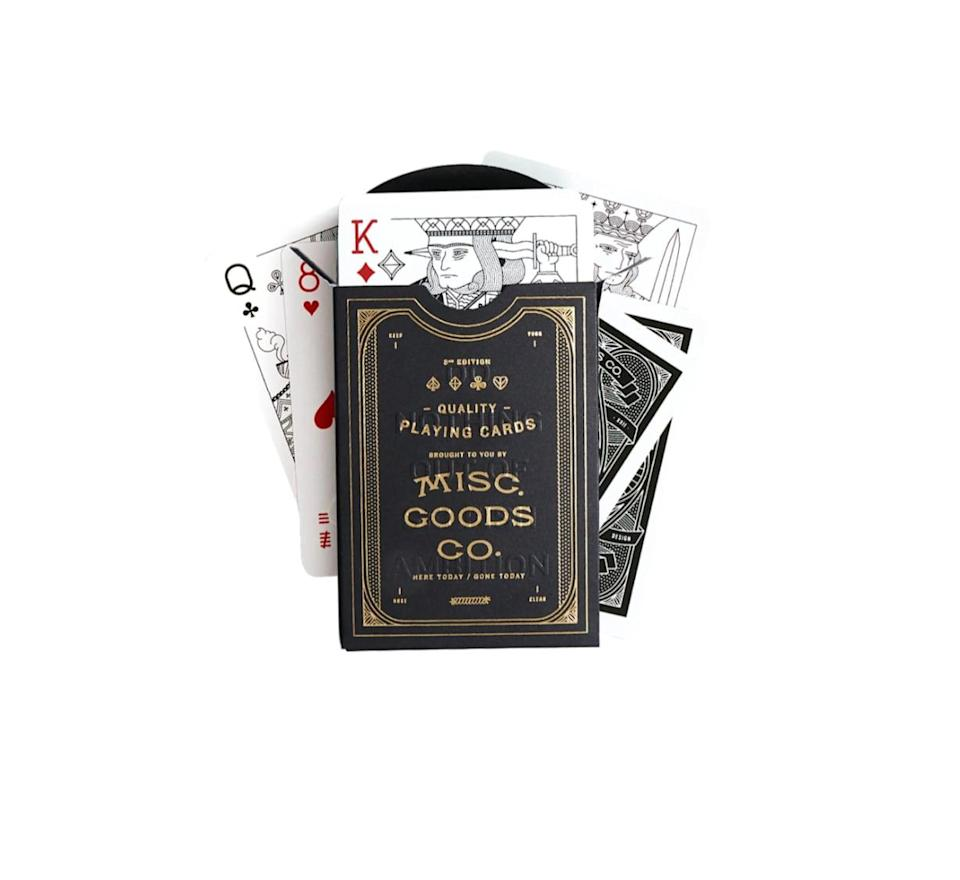 <p>Take a standard poker night to the next level with the help of this <span>Misc. Goods Co. Playing Cards Deck</span> ($15). Founder Tyler Deeb reimagined these cards with clever line illustrations, giving this set an artful edge.</p>
