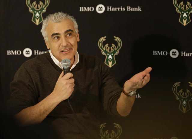 "<a class=""link rapid-noclick-resp"" href=""/nba/teams/milwaukee/"" data-ylk=""slk:Bucks"">Bucks</a> co-owner Marc Lasry was fined $25,000 for his comments about <a class=""link rapid-noclick-resp"" href=""/nba/players/5007/"" data-ylk=""slk:Anthony Davis"">Anthony Davis</a> last week. (AP Photo/Aaron Gash)"