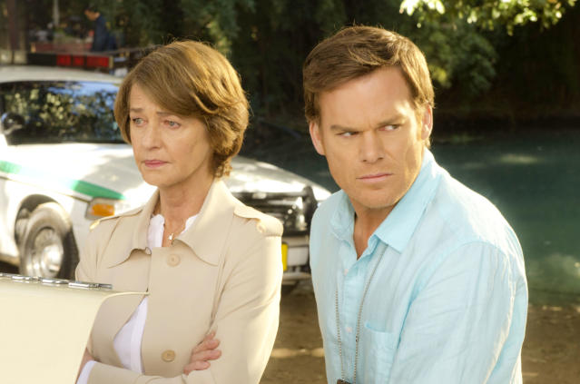 "Charlotte Rampling as Dr. Vogel and Michael C. Hall as Dexter Morgan in the ""Dexter"" Season 8 episode, ""What's Eating Dexter Morgan?"""