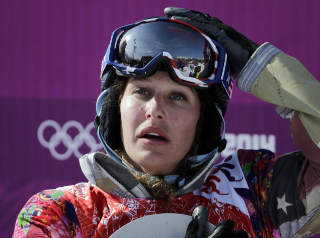 Lindsey Jacobellis of the United States reacts after winning the small final of the women's snowboard cross at the Rosa Khutor Extreme Park, at the 2014 Winter Olympics, Sunday, Feb. 16, 2014, in Krasnaya Polyana, Russia. (AP Photo/Andy Wong)