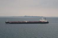 The Europrogress oil tanker, whose name has since been changed to Alsatayir, is seen in the Singapore Straits