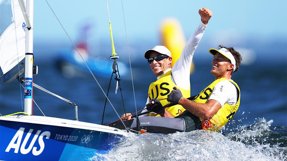 Mat Belcher and Will Ryan (pictured) celebrate after winning gold at the Tokyo Olympics.
