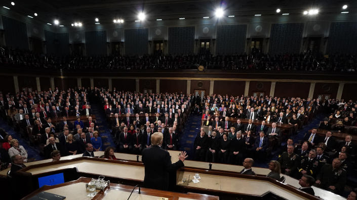 <p>Trump delivers his State of the Union address to a joint session of Congress on Capitol Hill in Washington, D.C., on Jan. 30. (Photo: Jim Bourg/Pool via AP) </p>