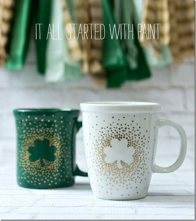 """<p>Just because your little ones may not be drinking out of coffee mugs yet, doesn't mean they can't help you decorate your own. Give them a design to imitate or let their imagination guide their art. Either way, you get a cool new holiday mug out of it.</p><p><em>Get the tutorial at <a href=""""https://www.itallstartedwithpaint.com/irish-coffee-mugs/"""" rel=""""nofollow noopener"""" target=""""_blank"""" data-ylk=""""slk:It All Start With Paint"""" class=""""link rapid-noclick-resp"""">It All Start With Paint</a>.</em></p>"""