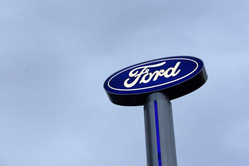 Ford logo is pictured at a car dealership in Monterrey