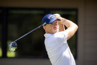 Matt Wallace, of England, hits off the third tee during the third round of the RBC Heritage golf tournament in Hilton Head Island, S.C., Saturday, April 17, 2021. (AP Photo/Stephen B. Morton)