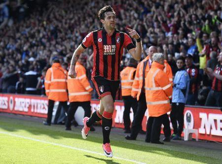 Britain Soccer Football - AFC Bournemouth v Middlesbrough - Premier League - Vitality Stadium - 22/4/17 Bournemouth's Charlie Daniels celebrates scoring their fourth goal Reuters / Dylan Martinez Livepic