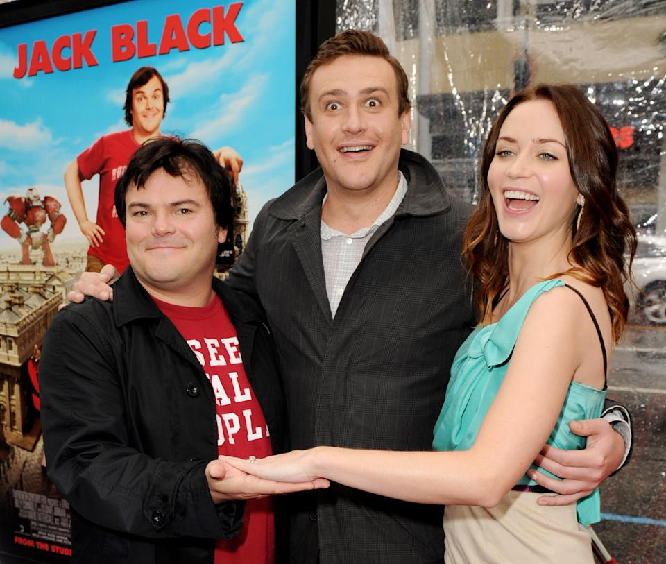 """LOS ANGELES, CA - DECEMBER 18:  (L-R) Actors Jack Black, Jason Segel and Emily Blunt arrive at the premiere of 20th Century Fox's """"Gulliver's Travels"""" at the Chinese Theater on December 18, 2010 in Los Angeles, California.  (Photo by Kevin Winter/Getty Images)"""