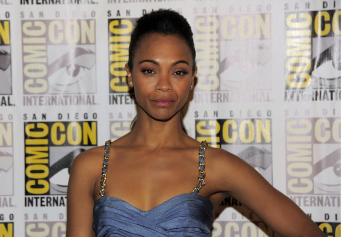 """Zoe Saldana arrives at the """"Guardians of the Galaxy"""" panel on Day 4 of Comic-Con International, Saturday, July 20, 2013, in San Diego. (Photo by Chris Pizzello/Invision/AP)"""